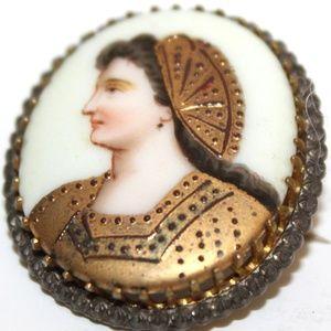 ATQ Victorian RARE Gilded Lady Limoges Pin BU21